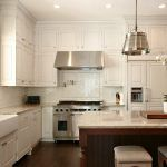 White corner kitchen kitchen traditional with kitchen island tile backsplash crown molding