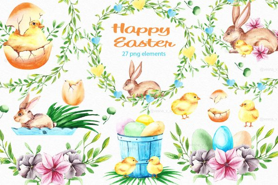 Chicken watercolor. Easter clipart bunny spring