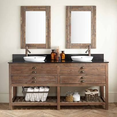 72 Benoist Reclaimed Wood Double Sink Bathroom Vanity For Semi Recessed