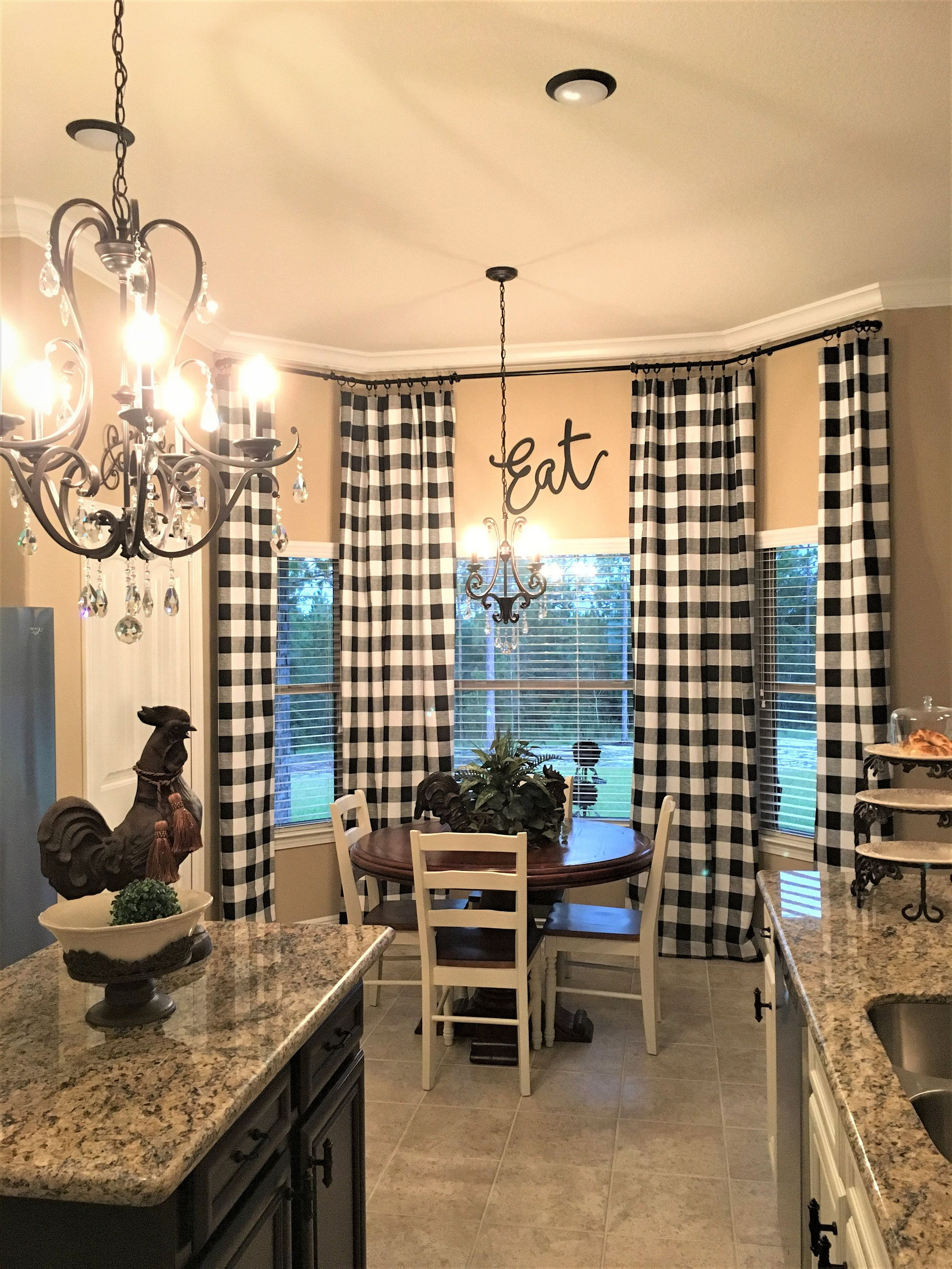Black and White Buffalo Check Curtains - 24 Width and 50 ... on Farmhouse Dining Room Curtain Ideas  id=56997