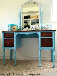 furniture redo - painted body, stained drawers #furnitureredos