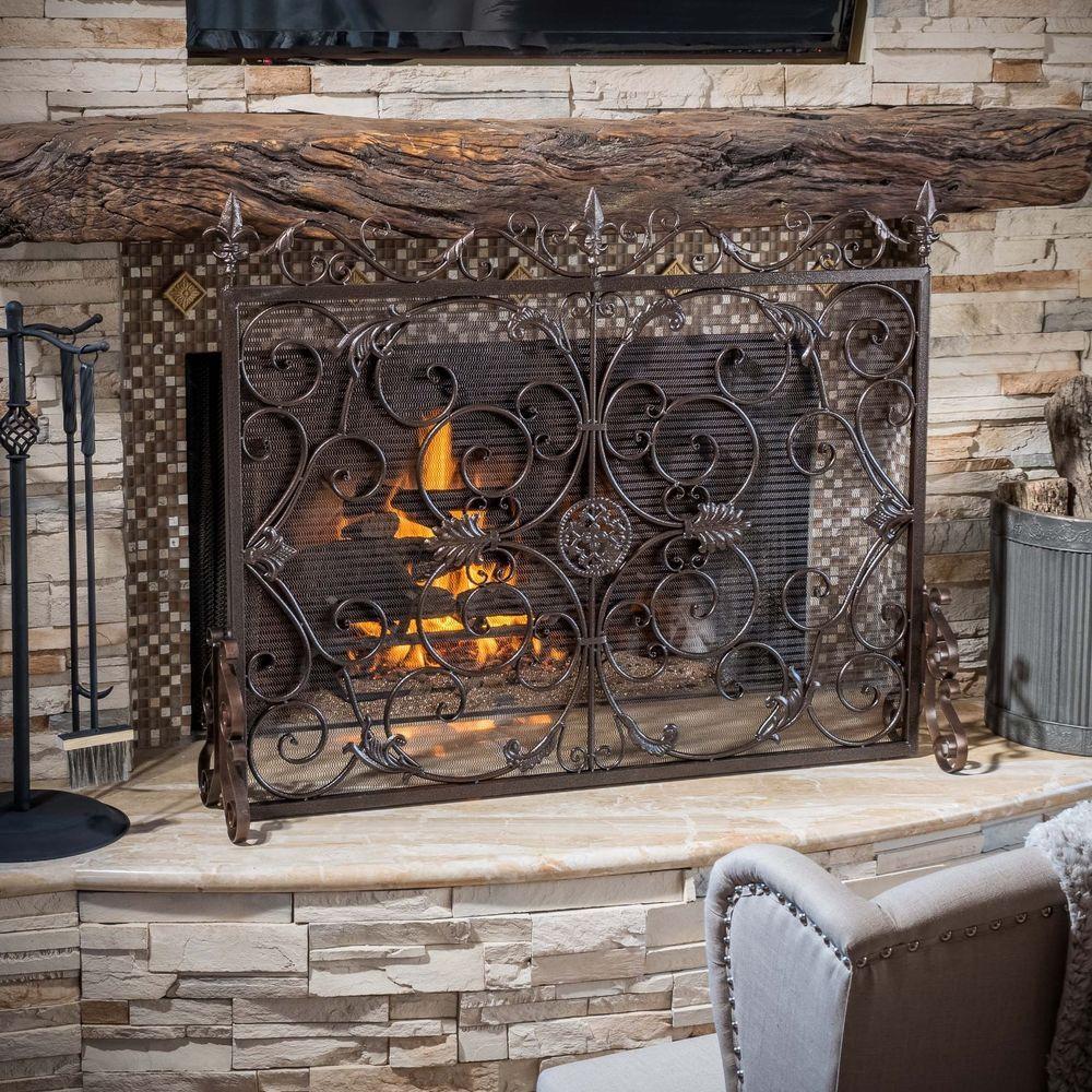 Indoor darcie copper brown finish wrought iron fireplace screen indoor darcie black brushed gold finish wrought iron fireplace screen greatdealfurniture victorianinspireddesign teraionfo