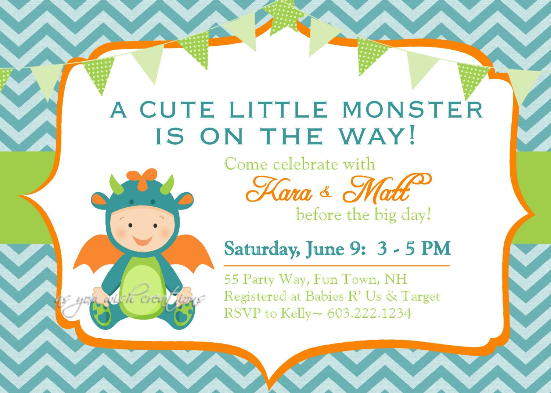 Monster Baby Shower Invitation Boy Invitation Monster Shower ...