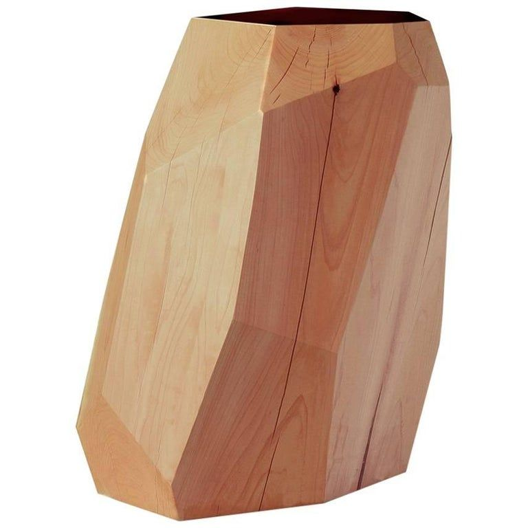 Photo of Natural Cedar Stool/side Table With Black Marble Insert