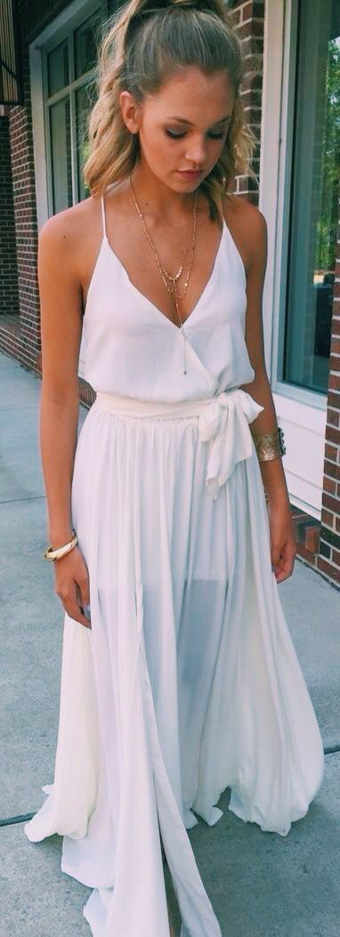 White Flowy Maxi Dress Style File Pinterest Maxi