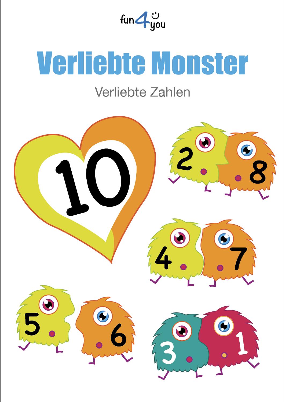 Verliebte Monsterzahlen Ausmalbilder Und Puzzle Unterrichtsmaterial Im Fach Mathematik Ausmalbilder Ausmalen Puzzle