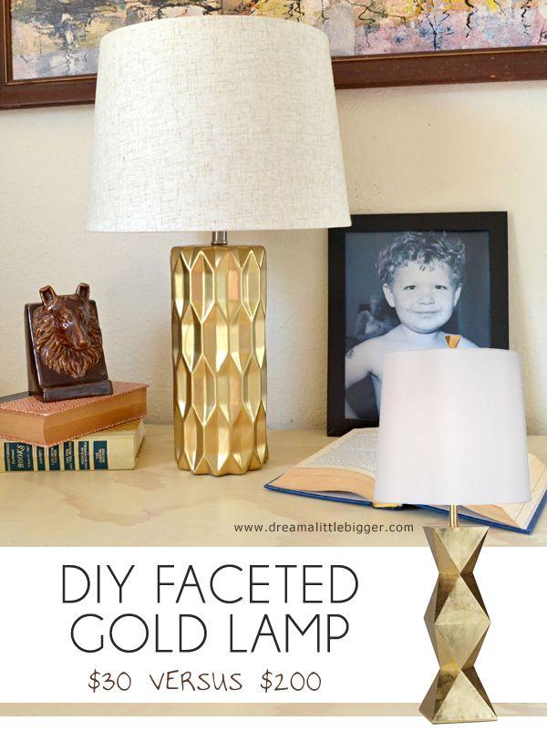 Diy Gold Faceted Lamp Gold Spray Paint Diy Gold Diy Faceted Lamp