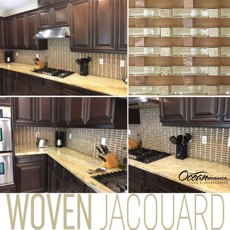 Beautiful Woven Curved Jacquard Mosaic Glass Tile Curved Kitchen Backsplash Glass Metal Stone Bac Kitchen Remodel Curved Kitchen Glass Backsplash Kitchen