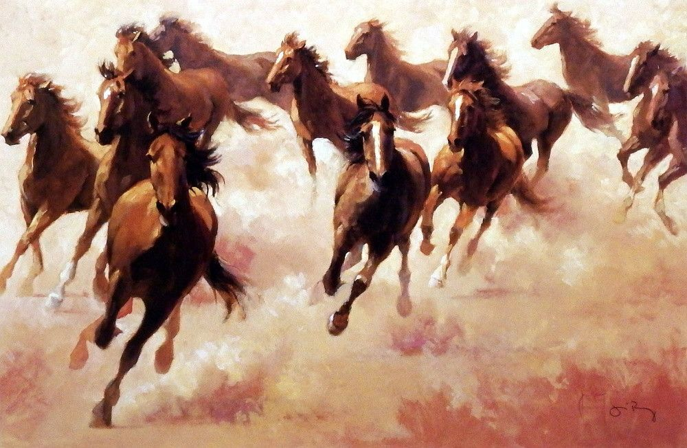 """In Jim Rey's RUN FOR FUN, a pack of wild horses race together through the dust they kick up with their hooves. This print is available unframed in an image size of 18""""x12"""""""