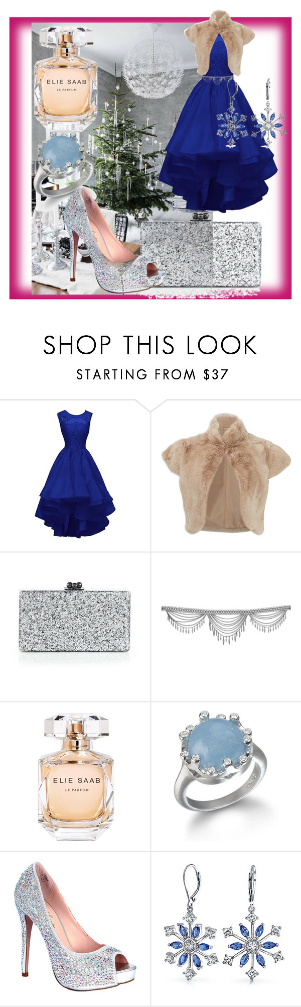 """""""Xmas outfit - the cool colors"""" by theladyintheblackdress ❤ liked on Polyvore featuring Adrienne Landau, Edie Parker, Elie Saab, Lauren Lorraine and Bling Jewelry"""