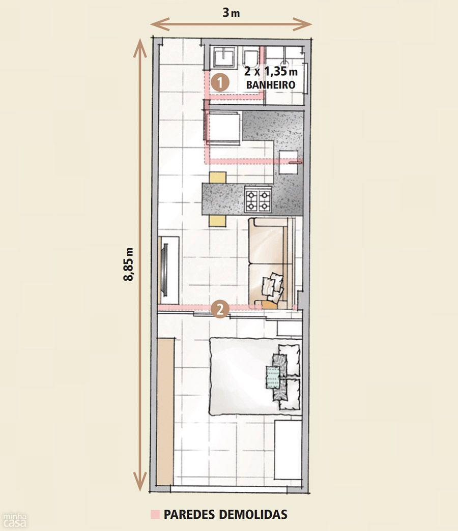 Quitinete de 26 m arquitectura dise o pinterest for Arquitectura casas pequenas