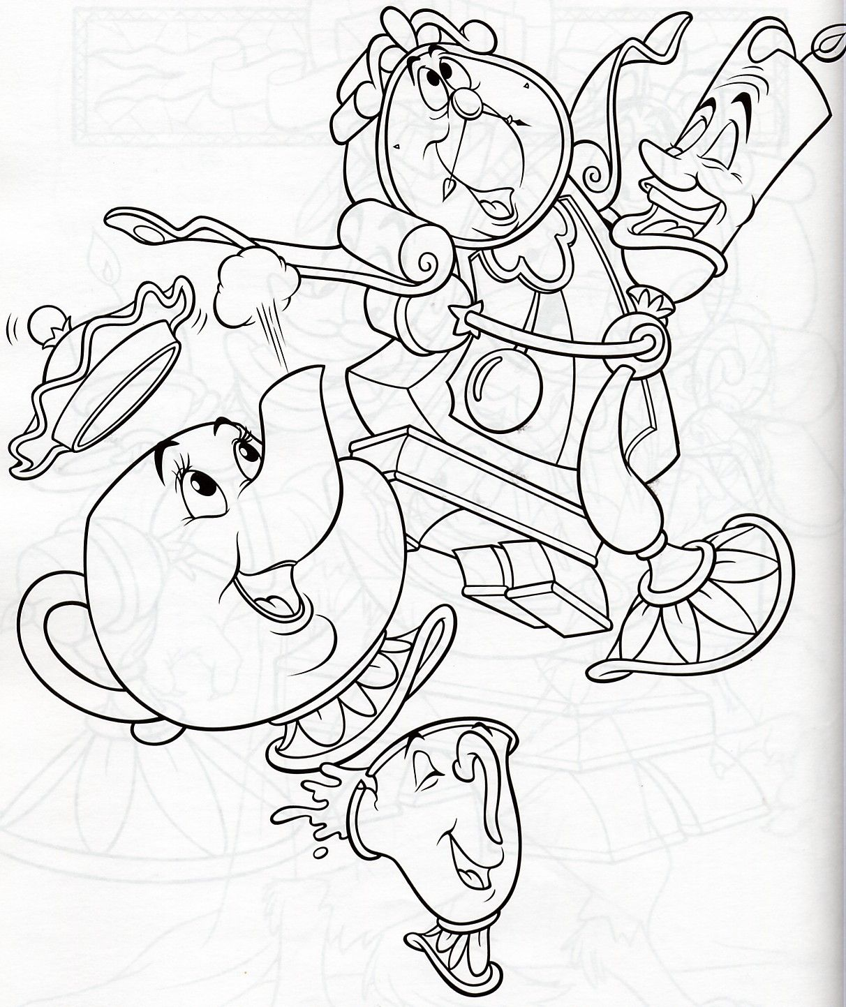 Mrs Potts Cogsworth Lumiere Disney Coloring Pages