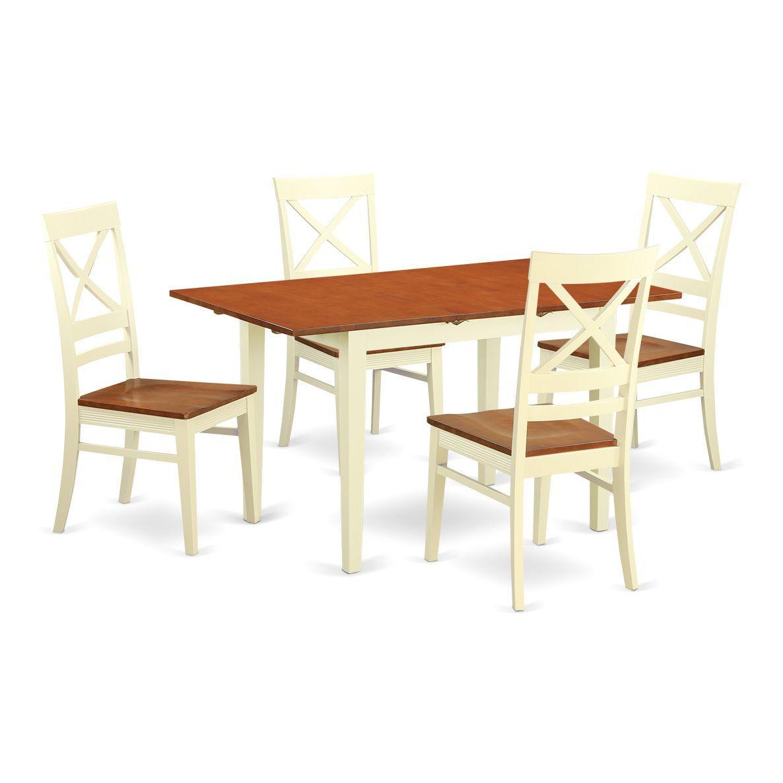 NOQU5-WHI-W 5-piece Small Kitchen Table Set (Buttermilk & Cherry ...