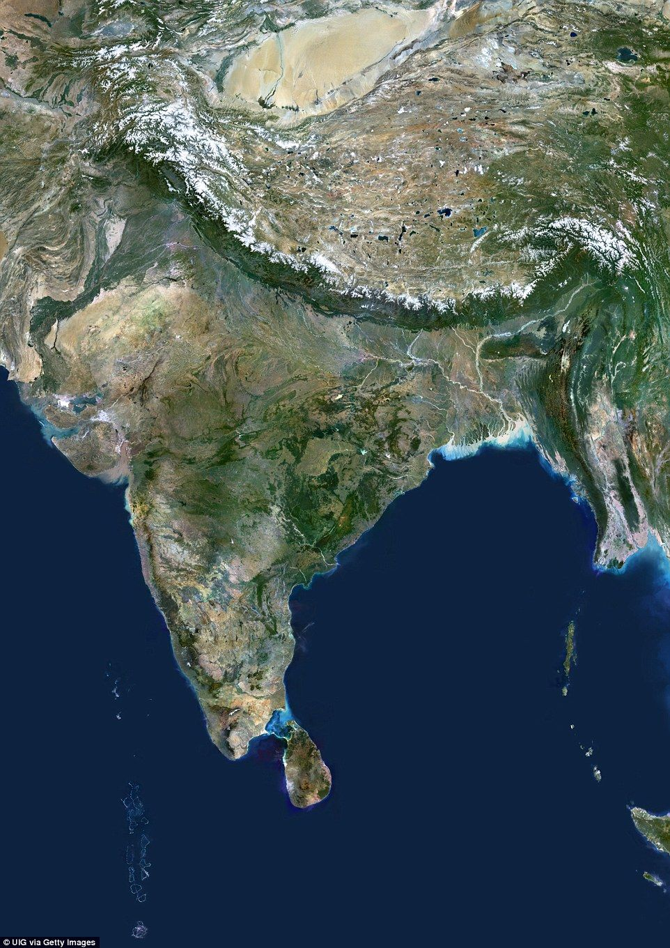 This satellite image shows South Asia bordered