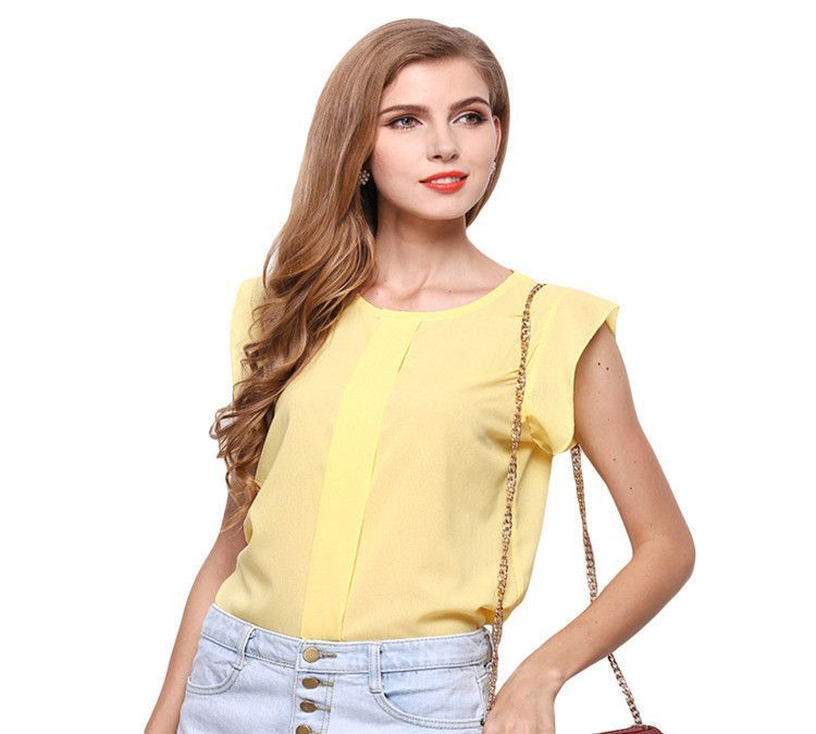 Summer Women T-shirt 2016 New Fashion Sleeveless O-neck Female Chiffon Tops Casual Slim Fit Loose Vest Tank Camisas Femininas