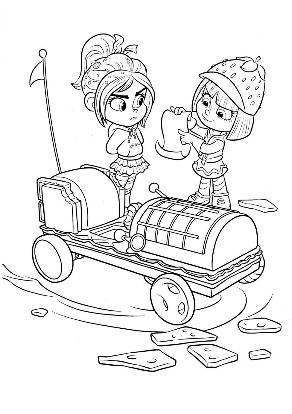 Disney Taffyta And Vanellope Coloring Page In 2020 Disney