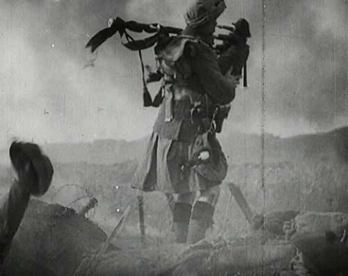 """The PipersOver a 1000 pipers died during WWI. These extraordinary men were sitting ducks as they went over the top to pipe their men into battle. Piper Harry Lunan was the last surviving piper and he said, """"I just played whatever came in to my head, but I was worried about tripping on the uneven ground, which interrupted my playing. The enemy fire was murderous, the men were falling all around me. I was lucky to survive. Hearing the pipes gave the troops courage."""""""