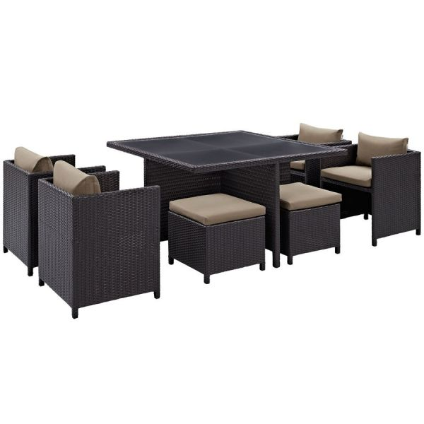 Inverse Mocha Fabric Synthetic Rattan 9pc Outdoor Patio Dining Set