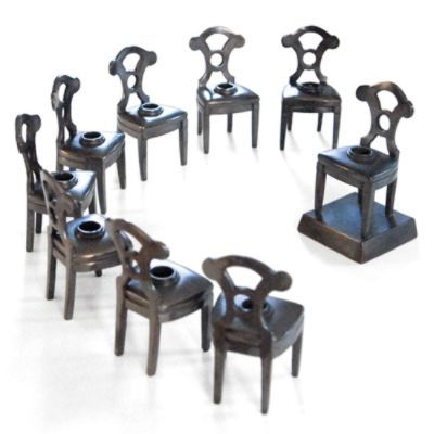 Styled after the Viennese Bierdemeir era,  hand-cast bronze Nine Chair Menorah from Forgotten Judaica epitomizes heirloom-quality craftsmanship.Talented artisans patiently craft and refine each piece to exceed the highest standards.