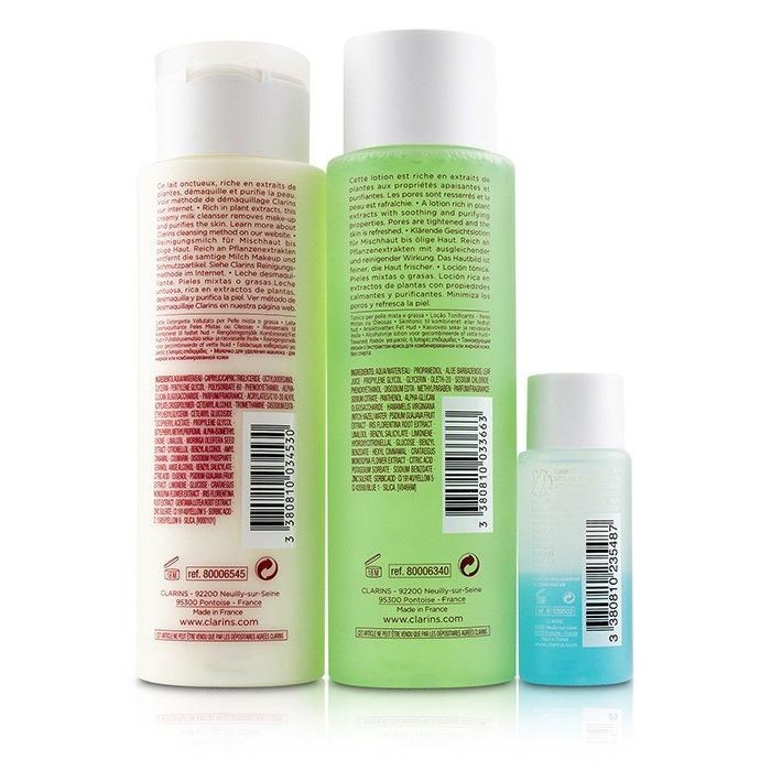 Perfektes Reinigungsset (Mischhaut oder fettige Haut): Reinigungsmilch 200 ml + Toning Lotion 200 ml + Augen Make-up Entferner 30 ml + Beutel 3 Stück + 1 Beutel