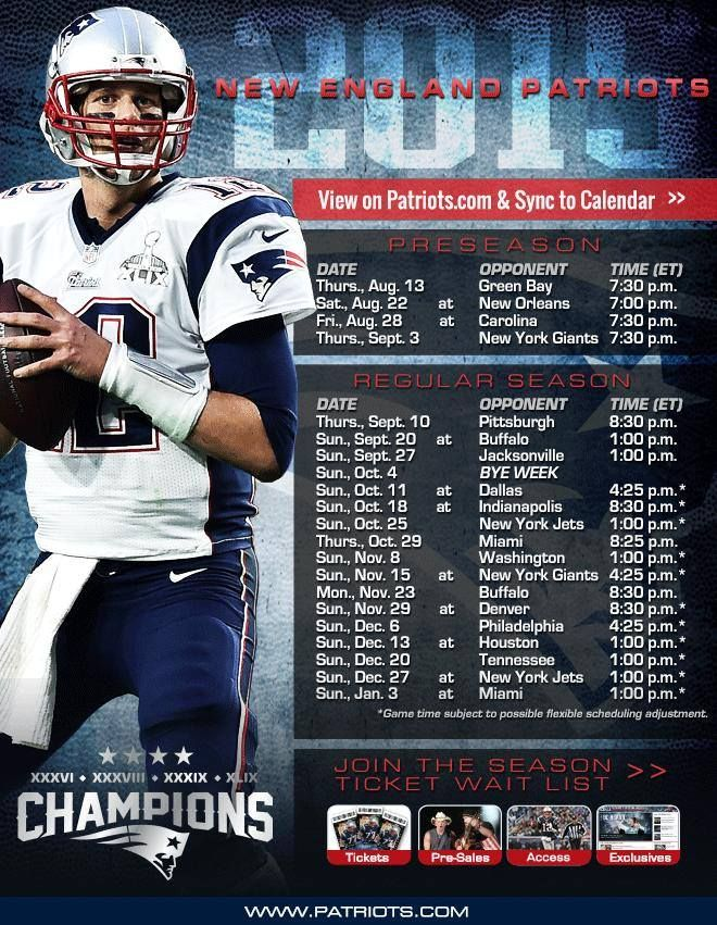 2015 Schedule New England Patriots Players England Patriots Nfl New England Patriots