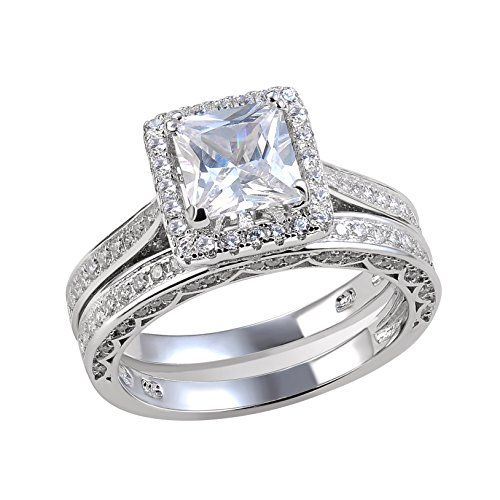 Newshe Jewellery Carat Princess White Cz 925 Solid Sterling Silver Wedding Band Engagement Ring Set Size 9 Women S Beautiful Pee 2 Piece Aaa Grade Cubic