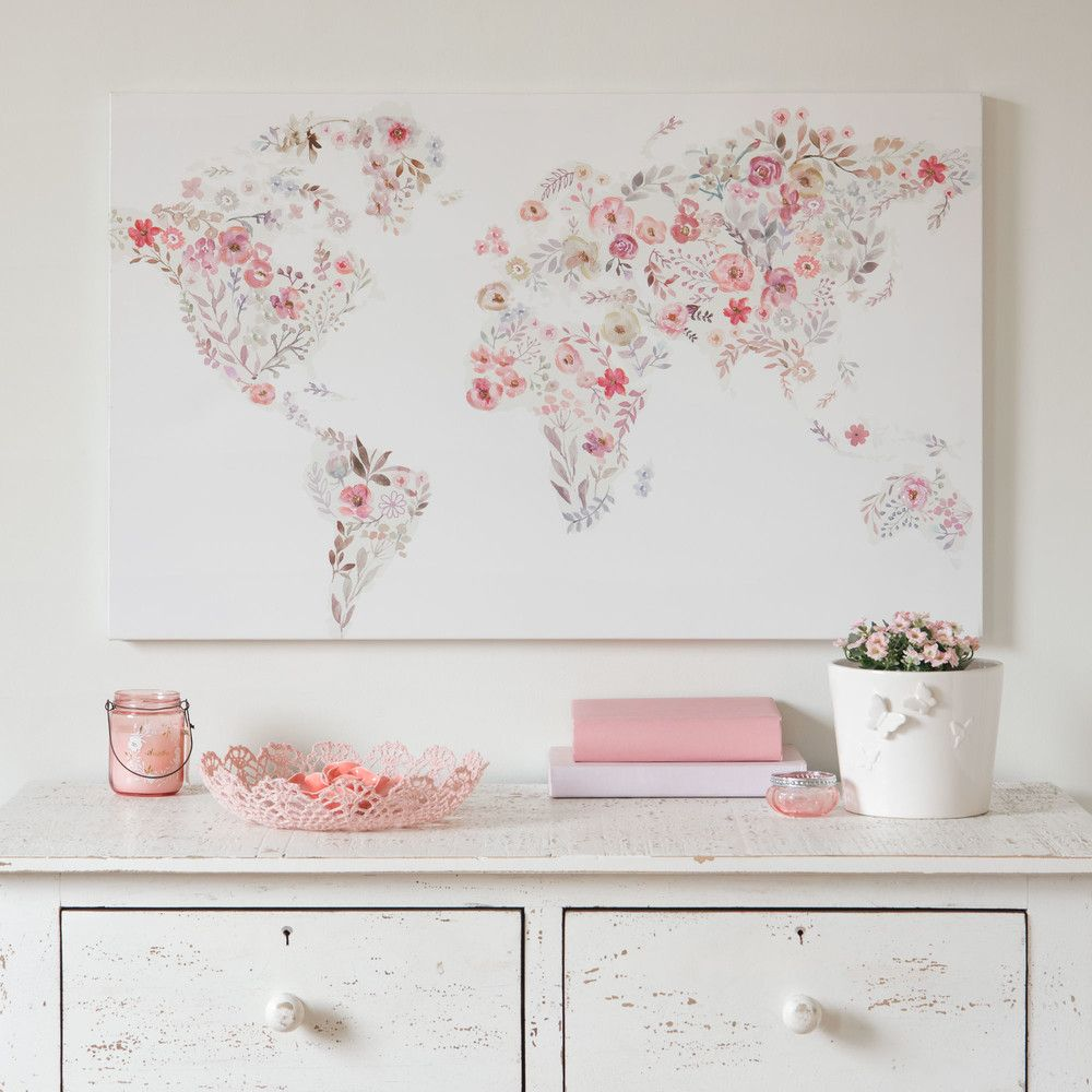 Bedroom Decorating Ideas Totally Toile: Toile Imprimée Carte Du Monde Fleuri 80x50