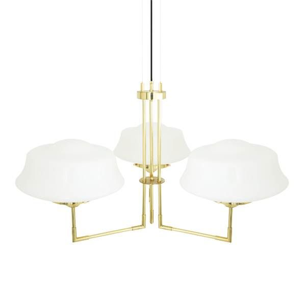 Solid brass contemporary chandelier in 4 finishes with opal glass schoolhouse shades by irelands mullan lighting free delivery from peter reid lighting