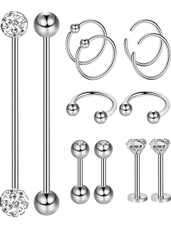 Body piercing earrings  Hestya  Pieces Stainless Steel Barbell Stud Body Piercing Jewelry