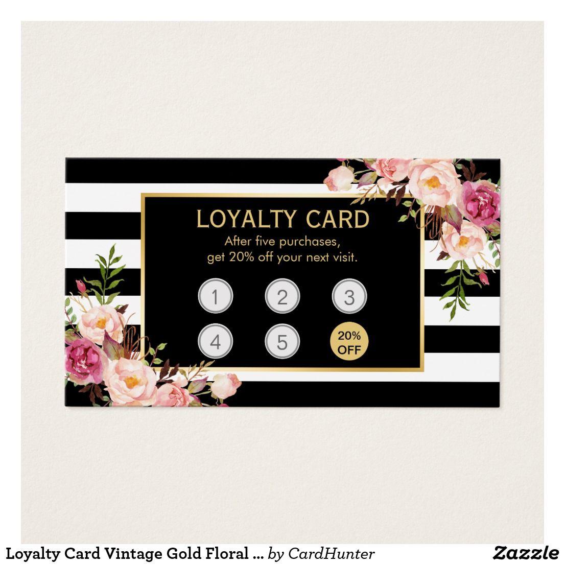 Loyalty Card Vintage Gold Floral Beauty Salon  Zazzle.com
