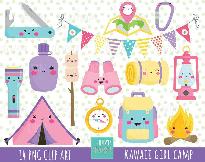 80 SALE GIRL CAMP Clipart Kawaii Commercial Use Camping Equipment Tent Camp Fire Travel Cute