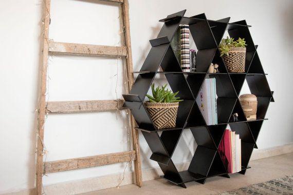 Black Hexagon Bookcase- Shelving Unit- Hexagon Shelves- Living Room Decor - Home Decor- Shoe Storage- Geometric Shelves- Black Decor