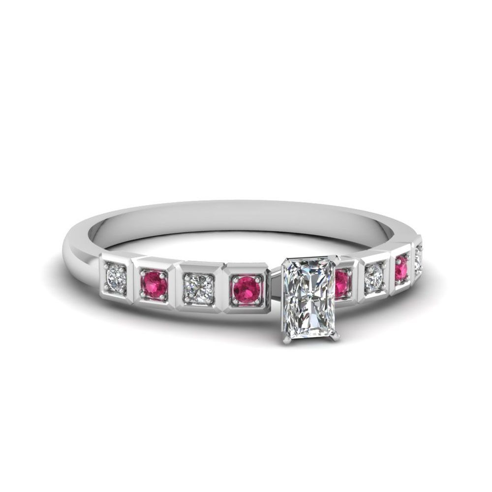 K white gold ct tdw radiantcut diamond and sapphire engagement