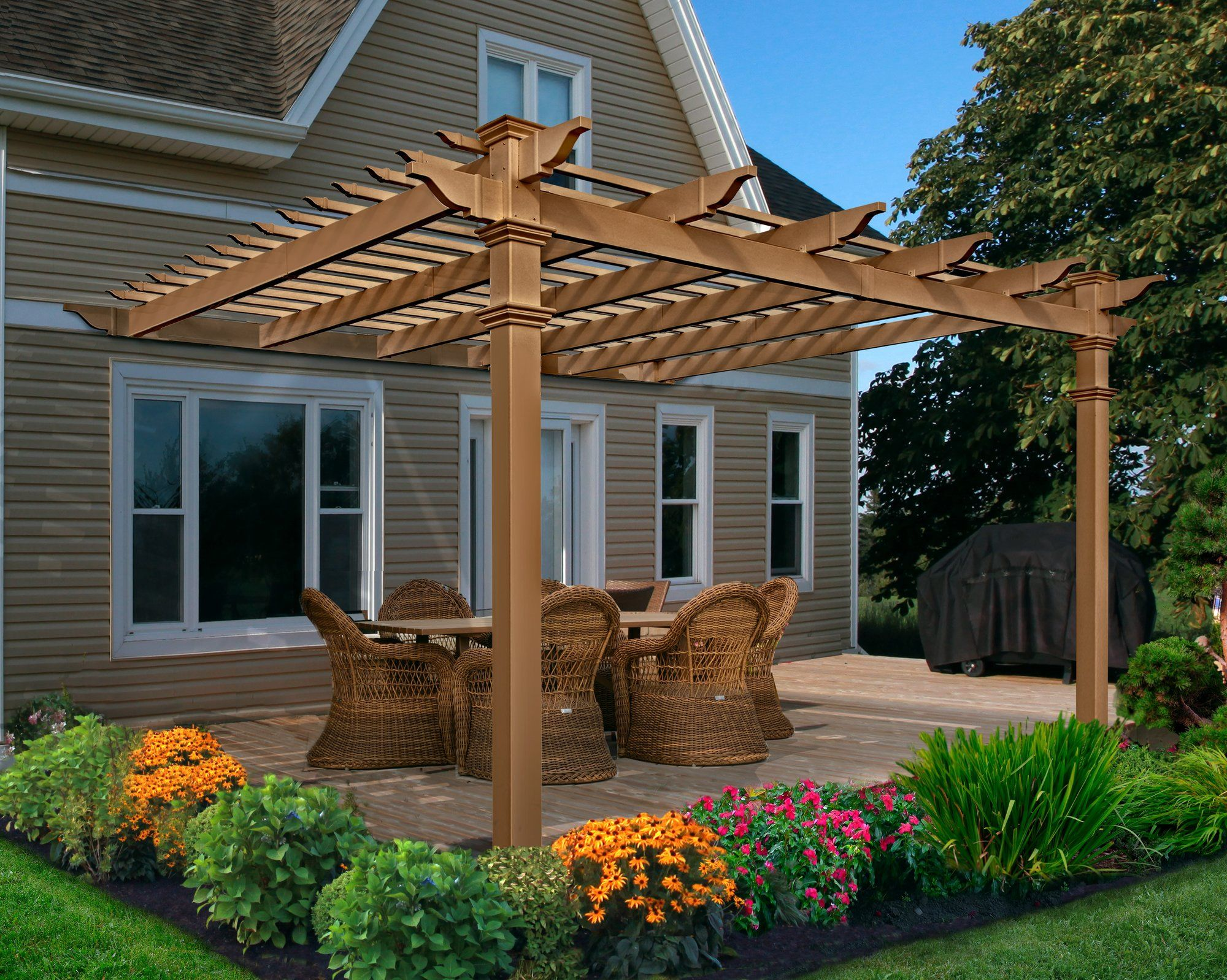 Kennedy Attached Composite 12 Ft W X 12 Ft D Pergola