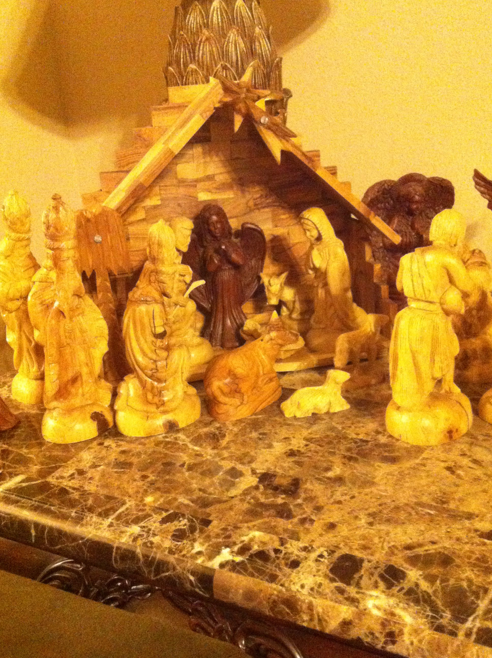 The real meaning of Christmas from an olive wood nativity