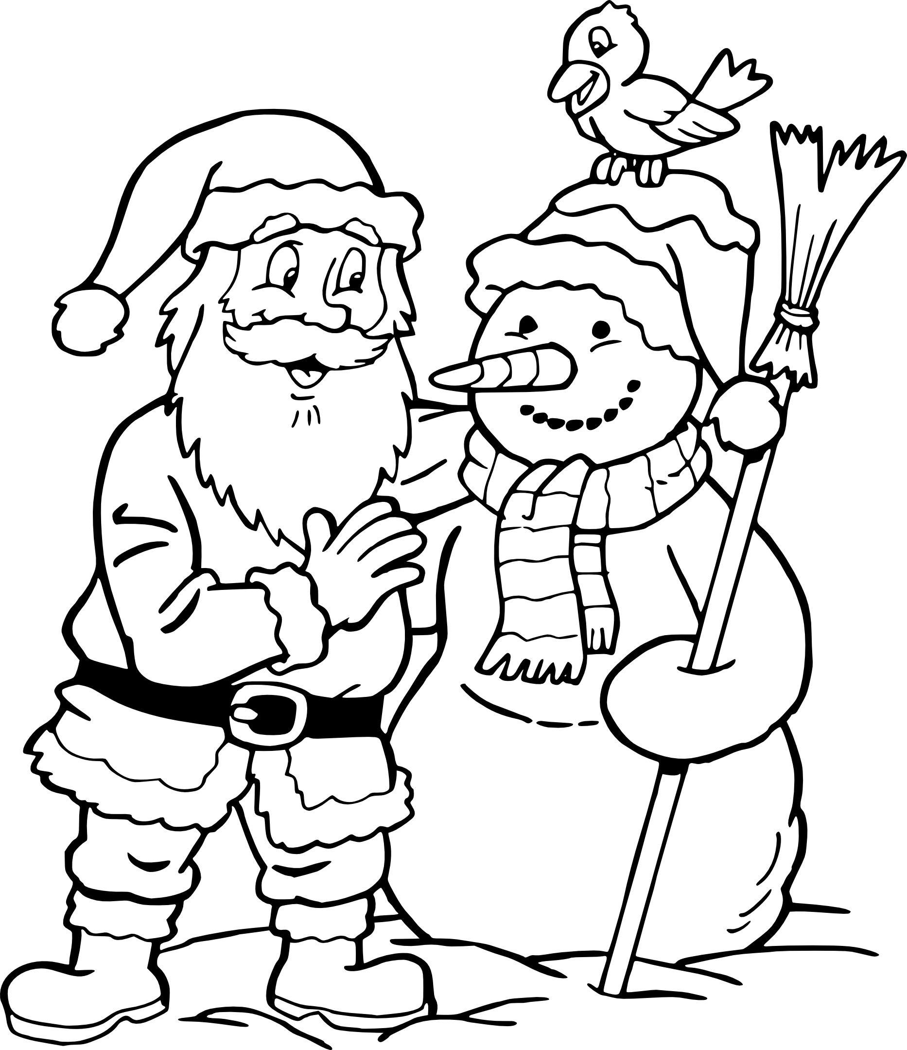 Coloriage Père Noël Et Bonhomme De Neige À Imprimer – Waouo