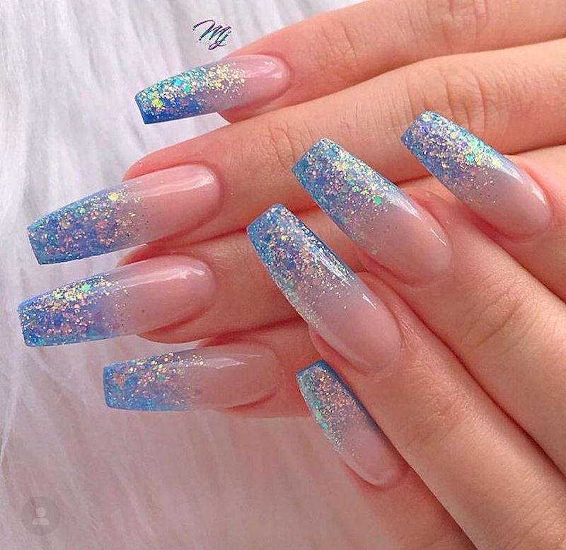 53 Amazing Blue Glitter Nail Design Ideas That You Must Try Blue Glitter Nails Glitter Nails Acrylic Acrylic Nail Designs