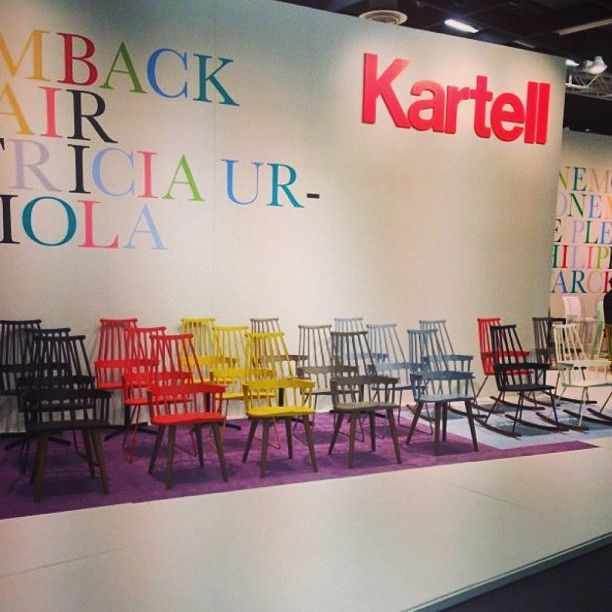 We love colors - Comback chair by Patricia Urquiola  || Kartell always introduce the funkiest chairs and creative exhibition booths #liveFromImmCologne @imm_cologne  Instagram User
