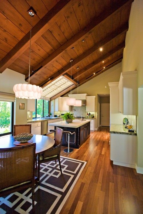 Lights Cathedral Ceiling Wood Ceilings Sunroom Kitchen