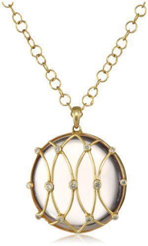 Lauren Harper Collection Sugar Buzz 18k Gold, Rose Quartz and Faceted Diamond Round Pendant Necklace on shopstyle.com