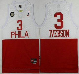 6d1d5c9a8af ... Throwback Black Jersey Philadelphia 76ers Jersey 3 Allen Iverson White  With Red 10th Patch Hardwood Classics Soul Swingman Jerseys ...