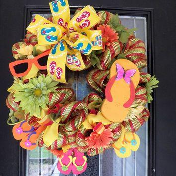 Flip Flop Summer Wreath, Summer Decoration, Door Hanger, Front Door Wreath, Deco Mesh Wreath, Ready to Ship