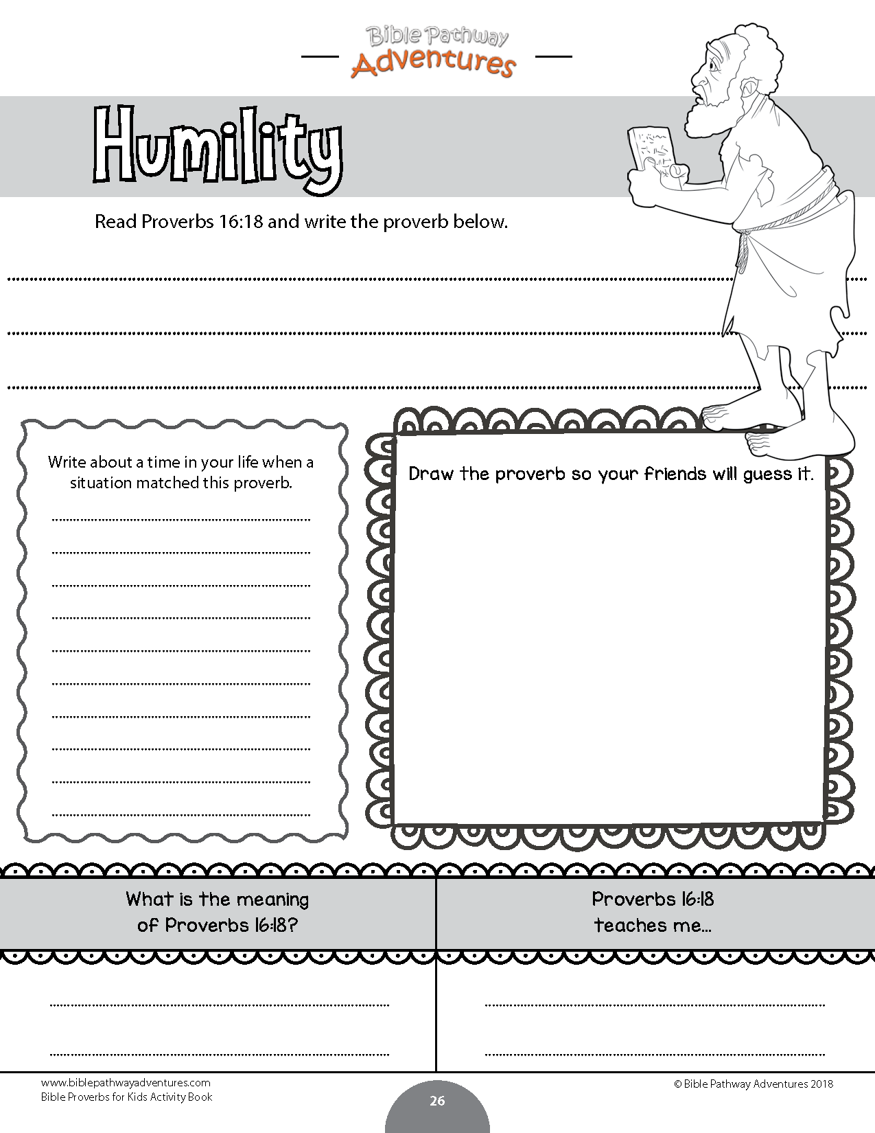 Bible Proverbs Activity Worksheet For Kids Humility