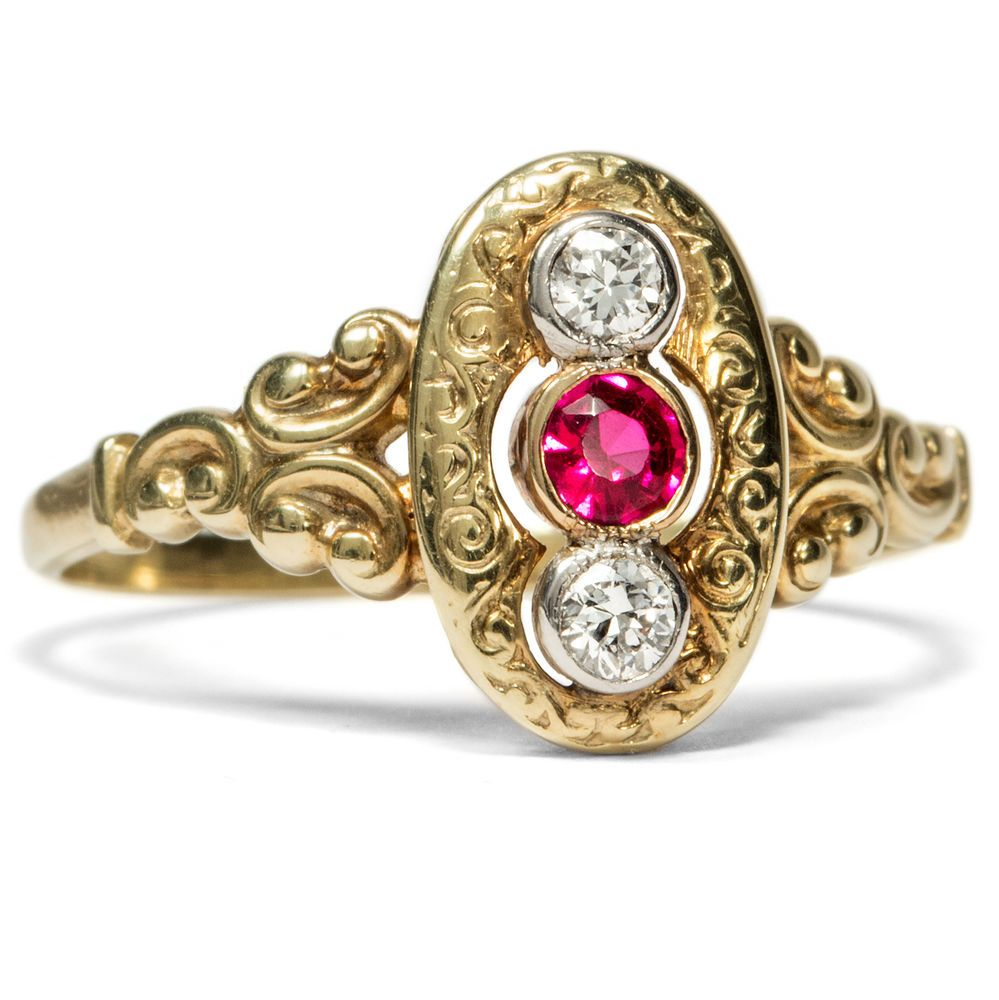Um 1900 Antiker Ring Mit Rubin Diamanten In Gold Verlobungsring