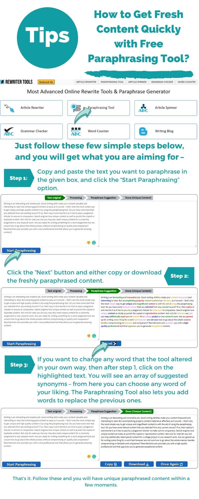 How To Get Fresh Content Quickly With Free Paraphrasing Tool Paraphrase Article Grammar Writing Skills Check