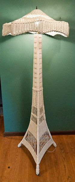 Impressive Ornate Antique Wicker Floor Lamp Home I Own