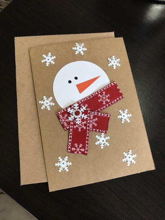 So basteln Sie ganz einfach Weihnachten für Kleinkinder - Schneemannkarten - New Ideas #weihnachtskartenbastelnmitkindern