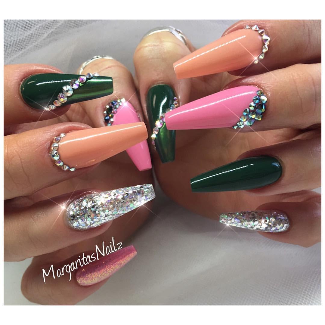 Army green and babypink coffin nails fall fashion nail design ...