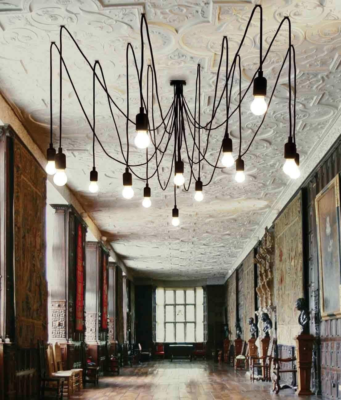 Bare wire multi flex spider chandelier with 14 dimmable led lamps