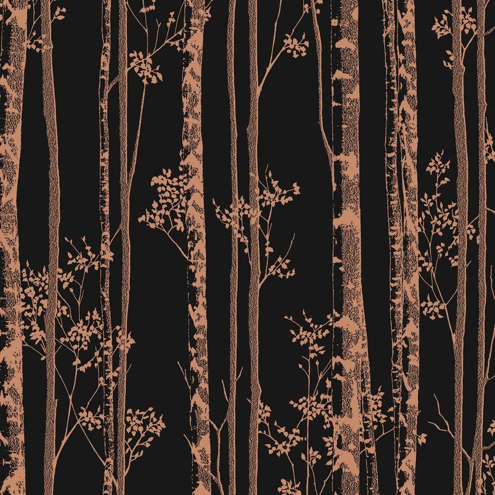 Graham & Brown Black and Copper Linden Removable Wallpaper